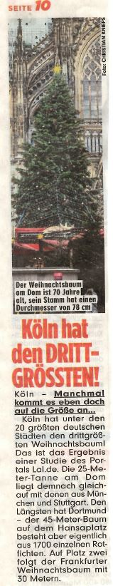 "Bild: ""Köln hat den DRITTGRÖSSTEN"""