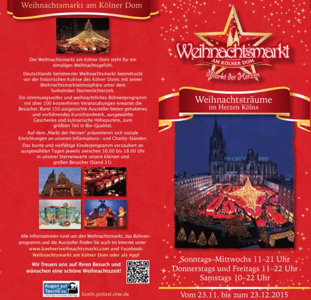 Der Marktflyer 2015 ist da – Das komplette Weihnachtsmarktprogramm vom Weihnachtsmarkt am Kölner Dom vom 23.11. bis 23.12.2015 jetzt als Download