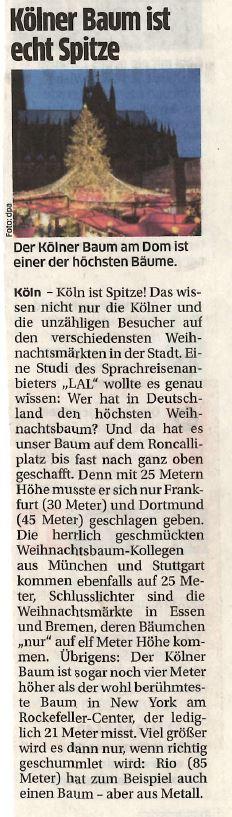 "Express: ""Kölner Baum ist echt spitze"""